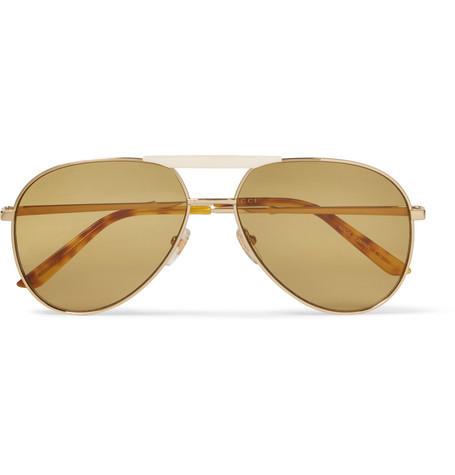 085732b2c7f0 Gucci – Endura Aviator-Style Gold-Tone and Horn-Effect Sunglasses – Men –  Gold