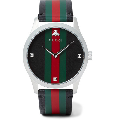 Gucci - G-Timeless 38mm Stainless Steel and Striped Leather Watch - Black