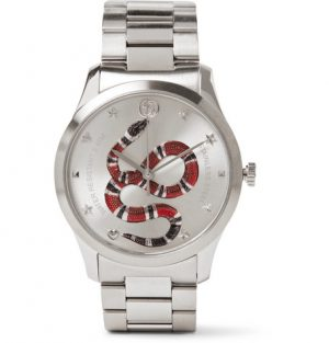 Gucci - G-Timeless Snake-Dial 38mm Stainless Steel Watch - Silver