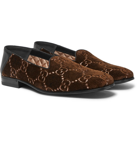 Gucci - Gallipoli Collapsible-Heel Leather-Trimmed Embroidered Velvet Loafers - Brown