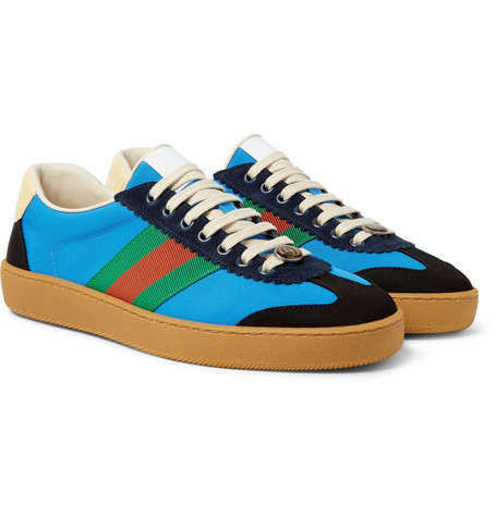 Gucci - JBG Webbing, Suede and Leather-Trimmed Nylon Sneakers - Light blue
