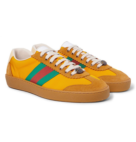 Gucci - JBG Webbing, Suede and Leather-Trimmed Nylon Sneakers - Saffron