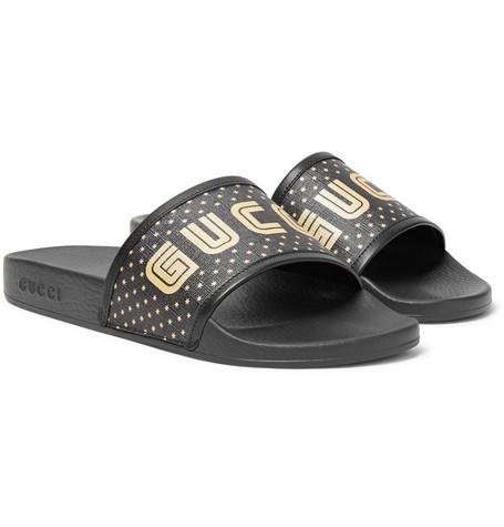 dba85fbb8d264 Gucci – Leather-Trimmed Logo-Print Rubber Slides – Men – Black