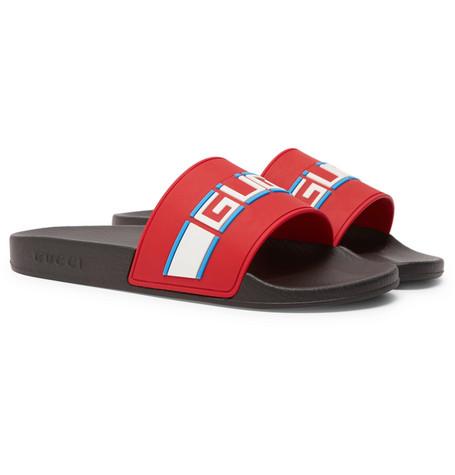 Gucci , Logo,Detailed Rubber Slides , Men , Red