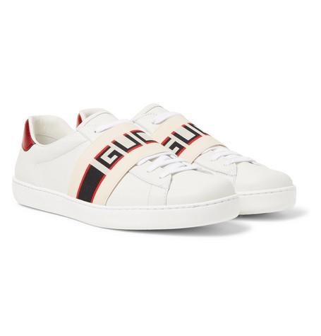 Gucci Logo Print Leather Sneakers Men White The Fashionisto