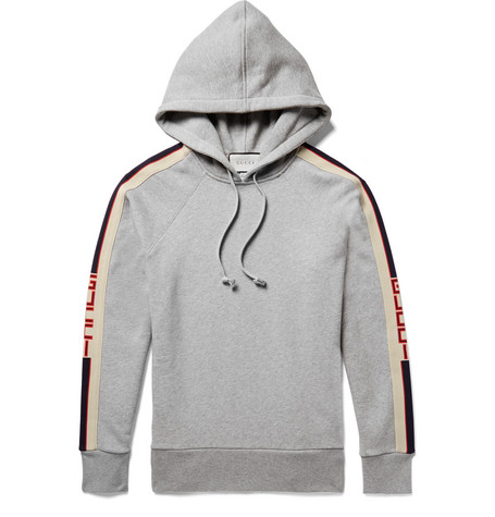 Gucci - Oversized Webbing-Trimmed Loopback Cotton-Jersey Hoodie - Gray