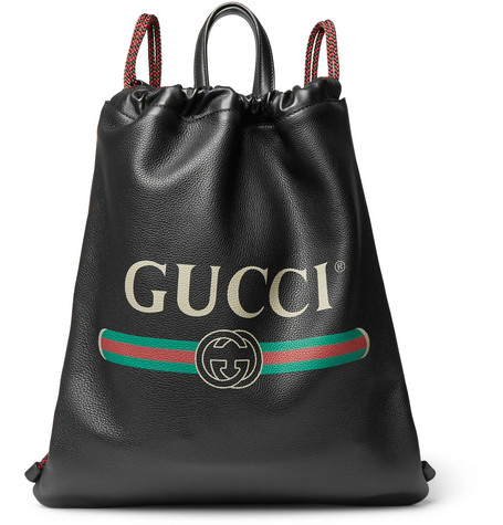 Gucci - Printed Full-Grain Leather Backpack - Black