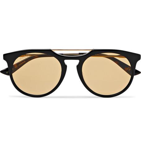 Gucci - Round-Frame Acetate and Gold-Tone Sunglasses - Black