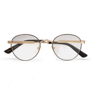 Gucci - Round-Frame Enamelled Gold-Tone Optical Glasses - Clear
