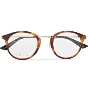 Gucci - Round-Frame Tortoiseshell Acetate and Gold-Tone Optical Glasses - Tan
