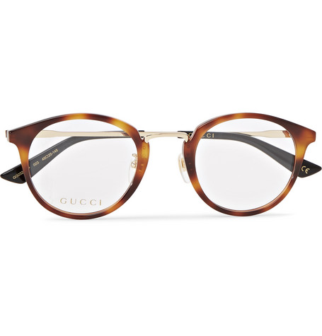 12f1af80197 Gucci - Round-Frame Tortoiseshell Acetate and Gold-Tone Optical Glasses -  Tan
