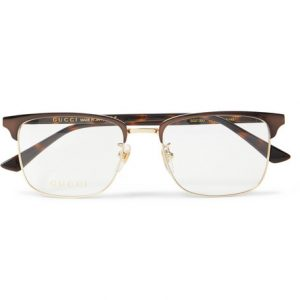 84a505c9adac Gucci - Square-Frame Tortoishell Acetate and Gold-Tone Optical Glasses -  Brown