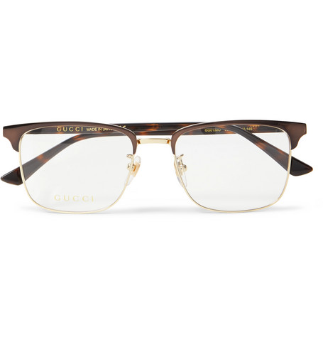 bf3927ca365 Gucci - Square-Frame Tortoishell Acetate and Gold-Tone Optical Glasses -  Brown