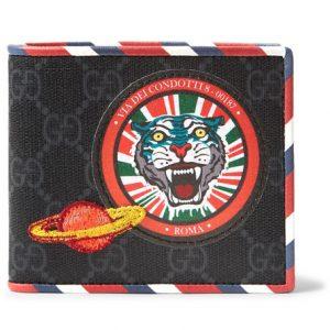 Gucci - Stripe-Trimmed Appliquéd Monogrammed Canvas Billfold Wallet - Black