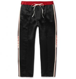 Gucci - Tapered Cropped Striped Satin Drawstring Trousers - Black