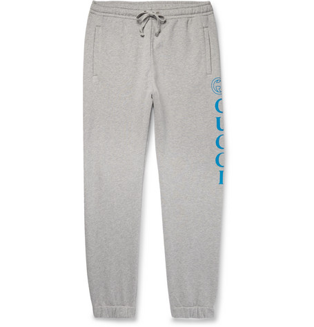 Gucci - Tapered Logo-Print Loopback Cotton-Jersey Sweatpants - Gray