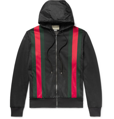 636d9a72a55 Gucci – Webbing-Trimmed Jersey Hooded Jacket – Black | The Fashionisto