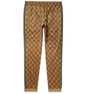 Gucci - Webbing-Trimmed Logo-Print Tech-Jersey Sweatpants - Brown