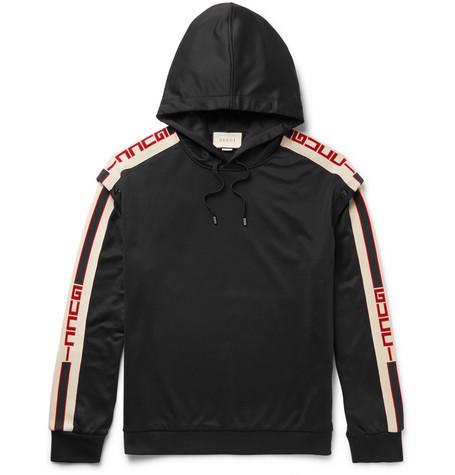 7d37e11df30db Gucci – Webbing-Trimmed Tech-Jersey Hoodie – Men – Black