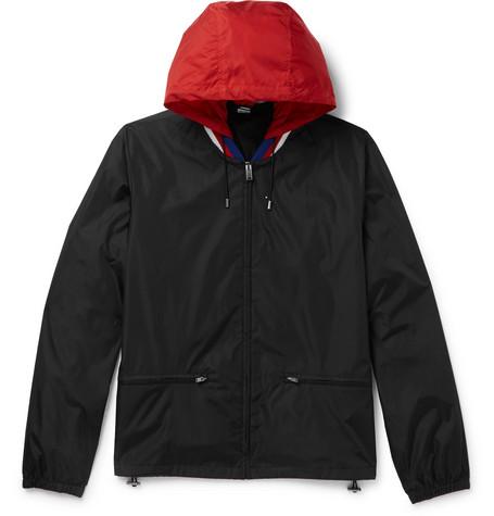 Gucci - Wool-Trimmed Logo-Print Shell Hooded Jacket - Black