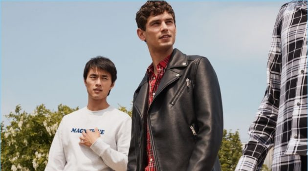 Zhao Lei and Arthur Gosse model new arrivals from H&M Men.