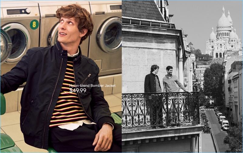 Blouson Jacket: Felix Gesnouin wears a H&M nylon-blend jacket.