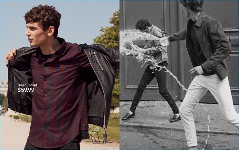 Biker Jacket: Arthur Gosse sports a H&M biker jacket.