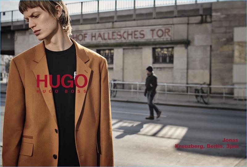 German model Jonas Glöer appears in HUGO's fall-winter 2018 men's campaign.