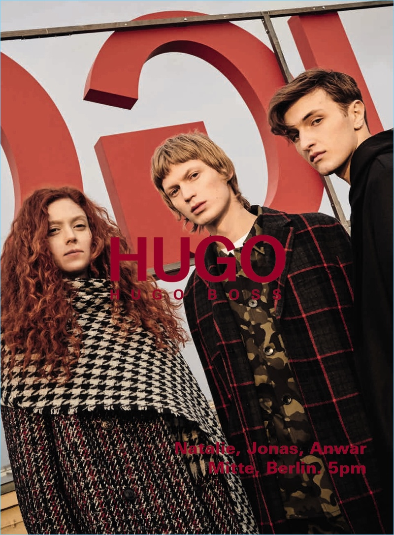 Natalie Westling, Jonas Glöer, and Anwar Hadid star in HUGO's fall-winter 2018 campaign.