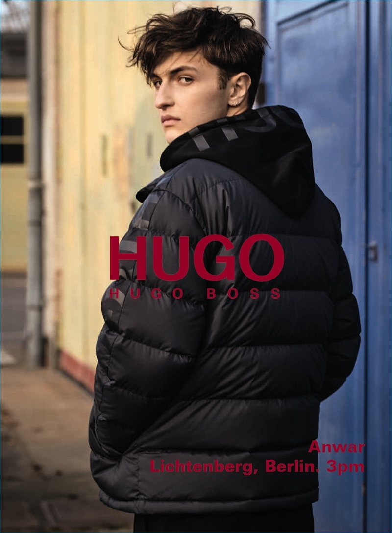 Anwar Hadid fronts HUGO's fall-winter 2018 men's campaign.