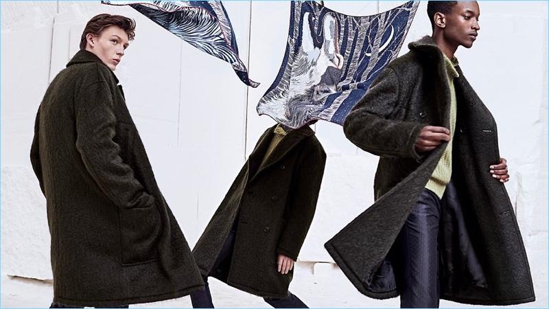 Finnlay Davis, Anders Hayward, and Oliver Kumbi star in Hermès' fall-winter 2018 men's campaign.