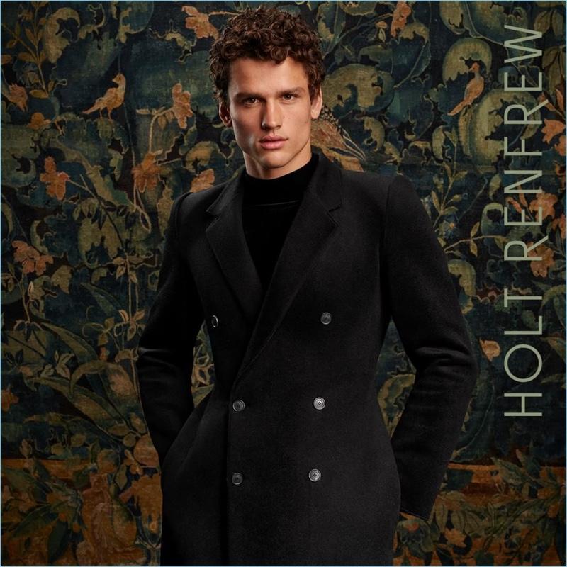 Simon Nessman dons Balenciaga for Holt Renfrew's fall-winter 2018 campaign.