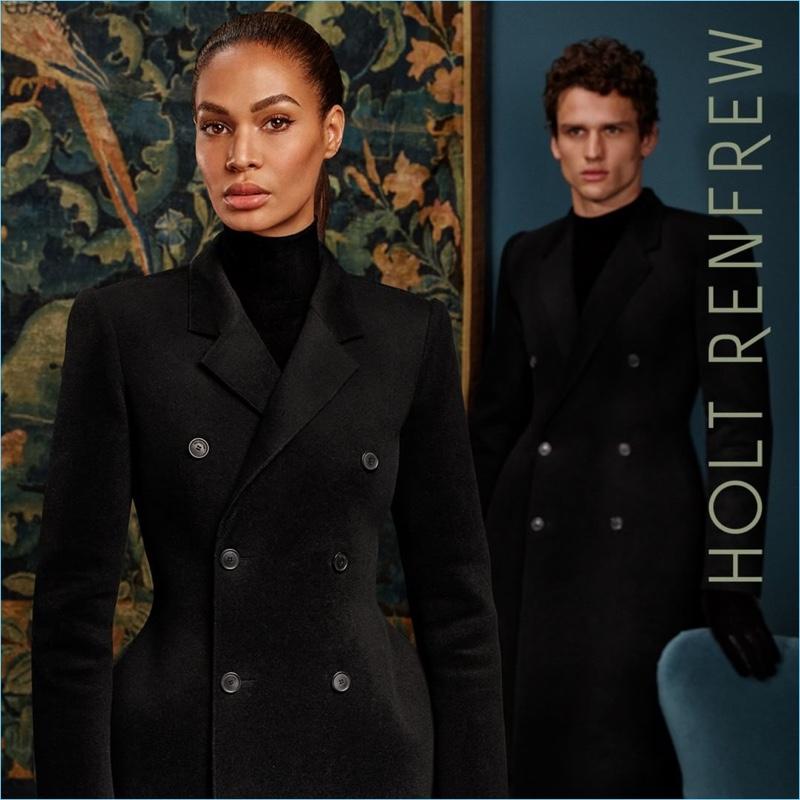 Models Joan Smalls and Simon Nessman wear Balenciaga for Holt Renfrew's fall-winter 2018 campaign.