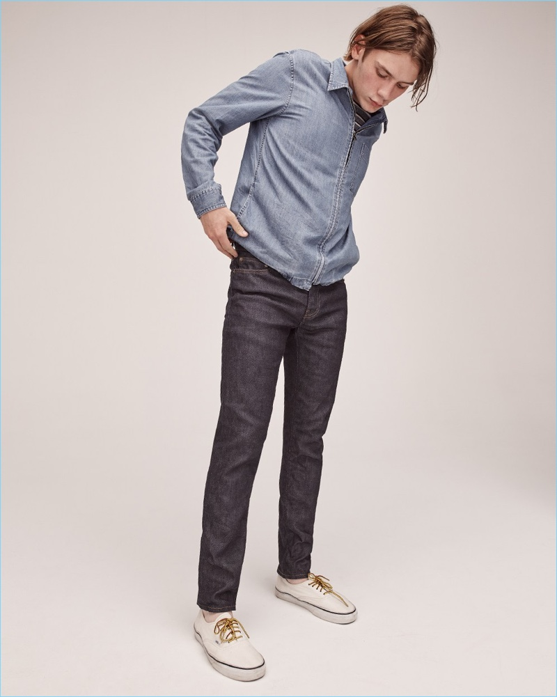 Luca Bertea rocks a J.Crew denim overshirt and 484 slim-fit jeans with Vans sneakers.