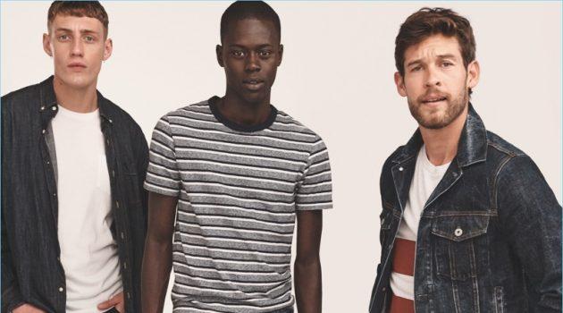 Models Aubrey O'Mahony, Alpha Dia, and Josh Upshaw sport denim essentials from J.Crew.