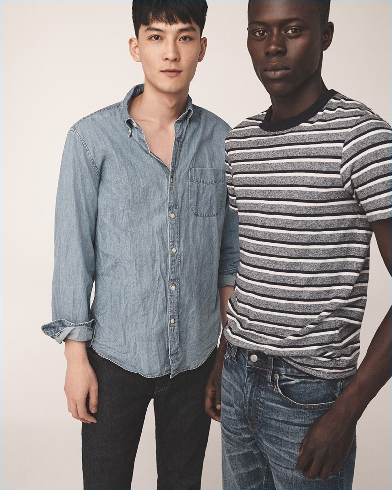 Left: InHyuk Yeo sports a J.Crew denim shirt and 770 straight-fit jeans. Right: Alpha Dia wears a J.Crew striped t-shirt and 1040 athletic-fit jeans.