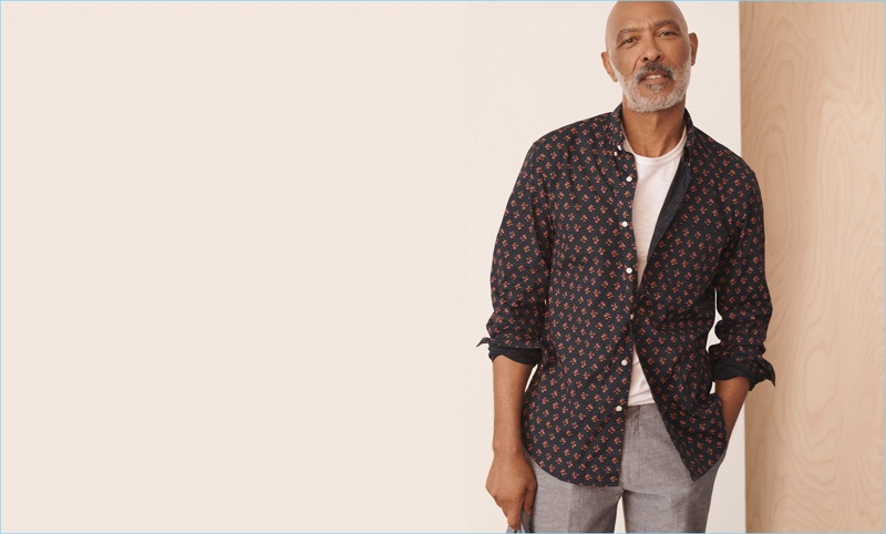 Untucked Shirts: Lono Brazil makes a case for untucked shirts in J.Crew's navy floral shirt that features a shorter hem. He also sports a garment-dyed slub cotton t-shirt and Ludlow classic-fit suit pants in linen.