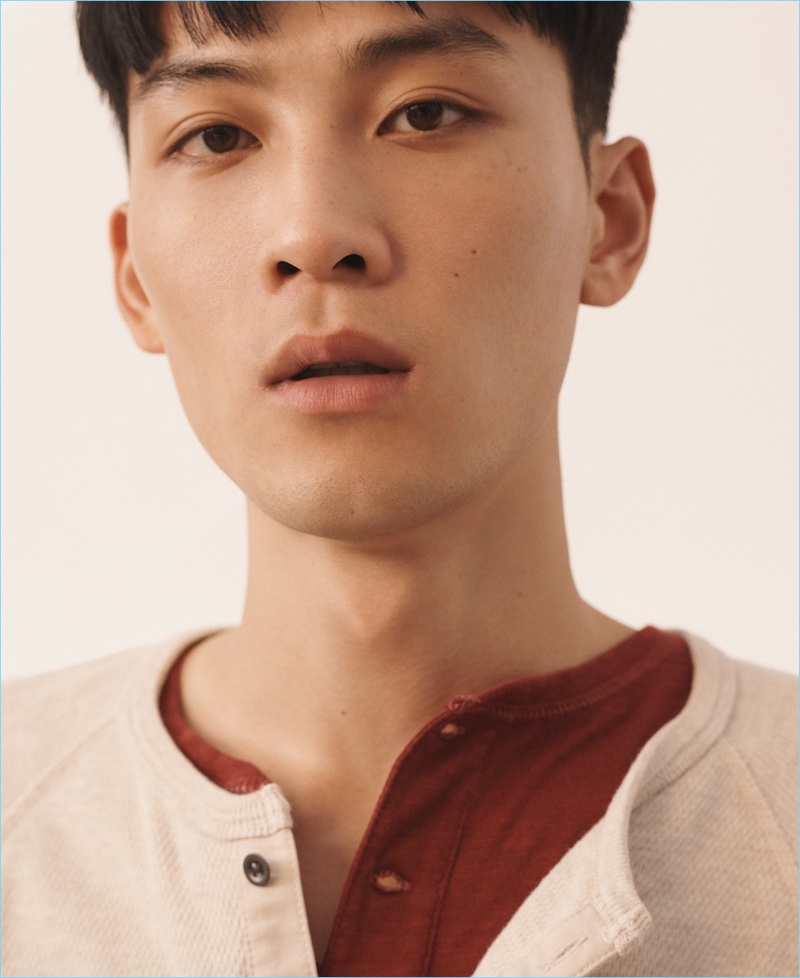 Beach Thermal: InHyuk Yeo wears a J.Crew beach thermal henley and garment-dyed slub cotton henley.