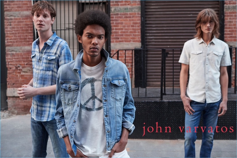 Matthew Hitt, Brandon Bailey, and Christian Plauche come together for John Varvatos' pre-fall 2018 campaign.