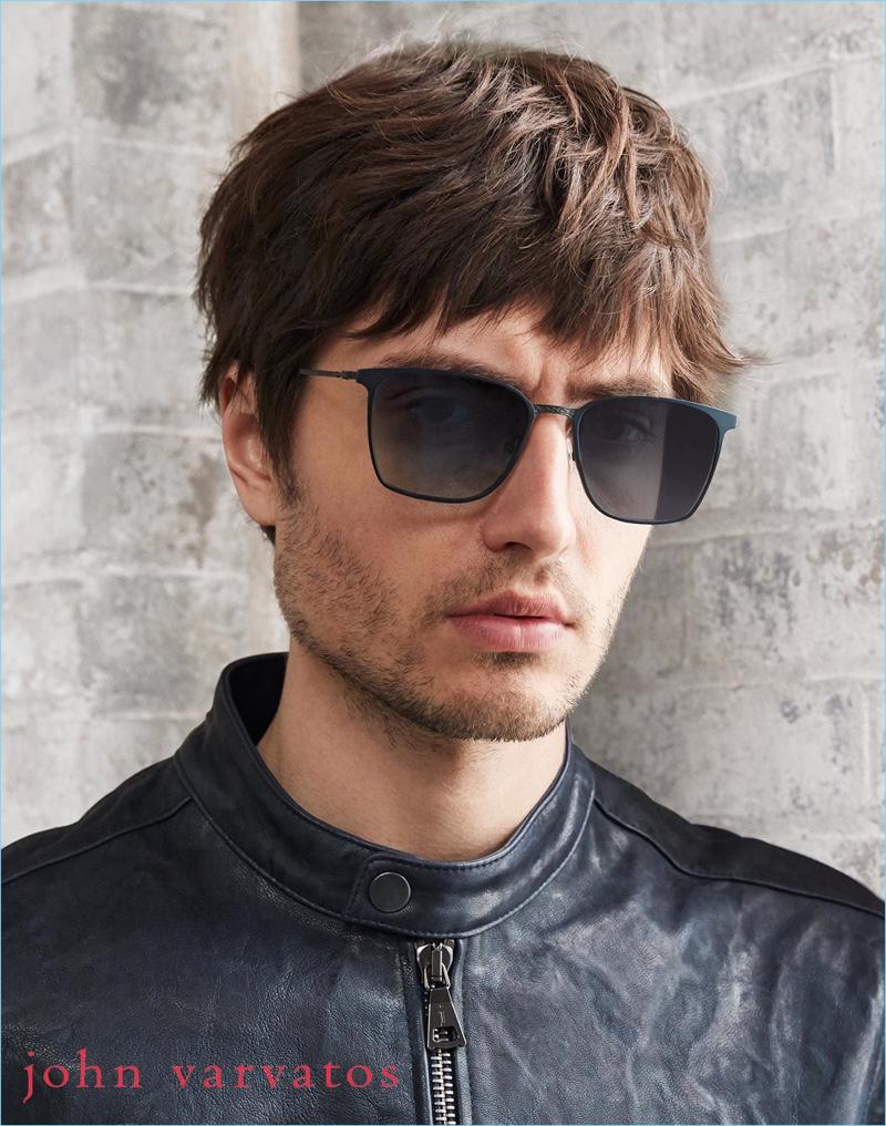 Spencer Draeger dons sunglasses for John Varvatos' pre-fall 2018 campaign.