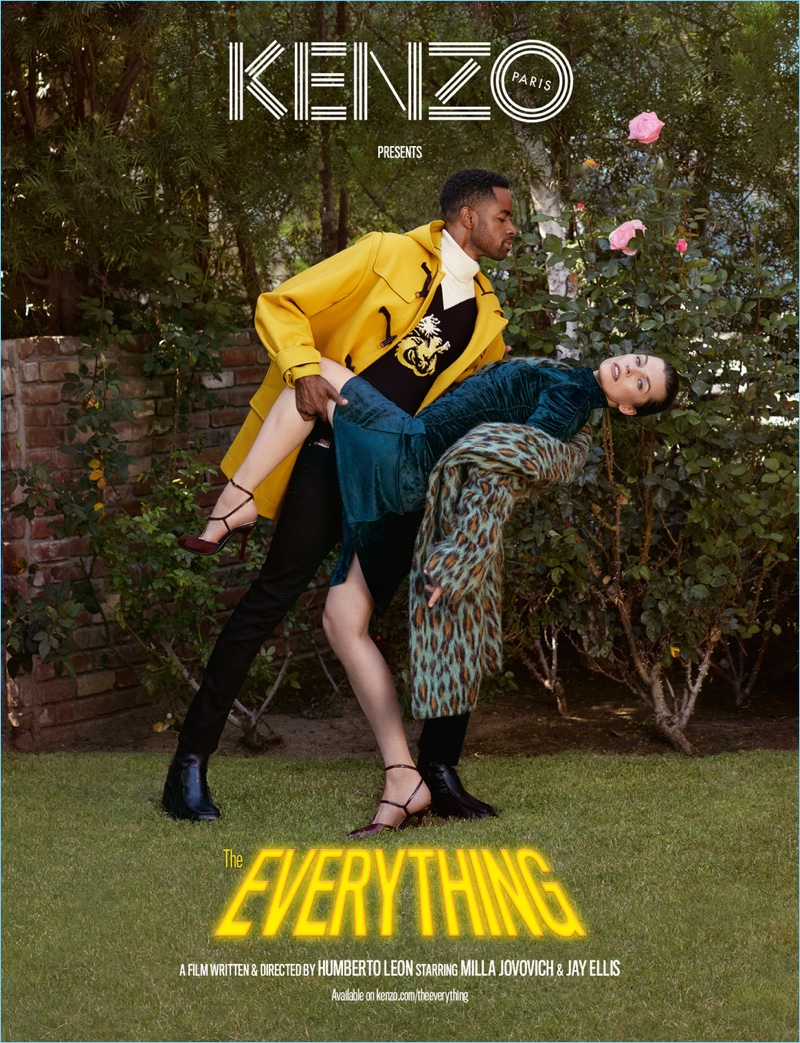 Actors Jay Ellis and Mila Jovovich appear in Kenzo's fall-winter 2018 campaign.