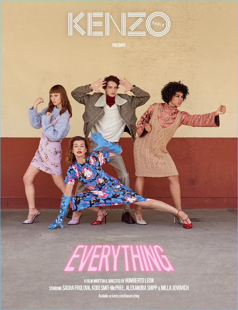 Kenzo's fall-winter 2018 campaign features Sasha Frolova, Kodi Smit-McPhee, Alexandra Shipp, and Milla Jovovich.