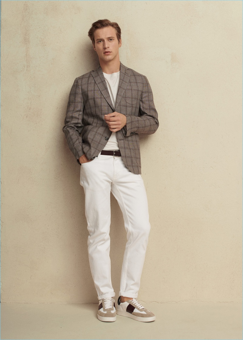 Sporting the latest from Mango Man, Jules Raynal embraces neutrals.