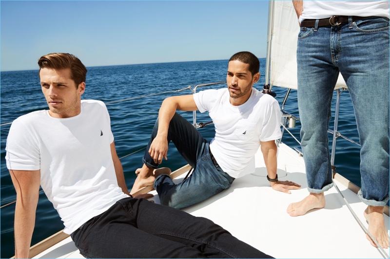 Embracing minimal style, Edward Wilding and Daniel Pimentel wear Nautica.