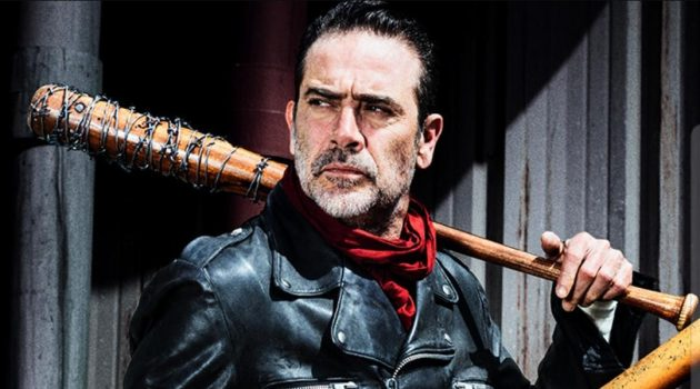 Jeffrey Dean Morgan as Negan from The Walking Dead in his iconic leather jacket.