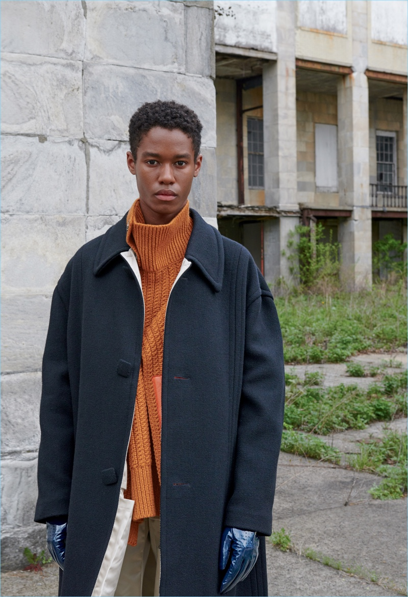 Caleb Elijah wears Raf Simons for Nordstrom's fall 2018 men's campaign.