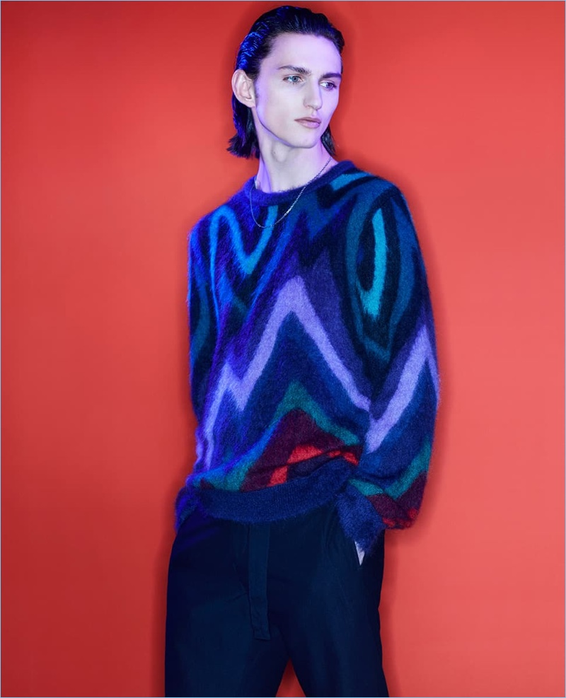Henry Raush wears a graphic sweater for Paul Smith's fall-winter 2018 campaign.