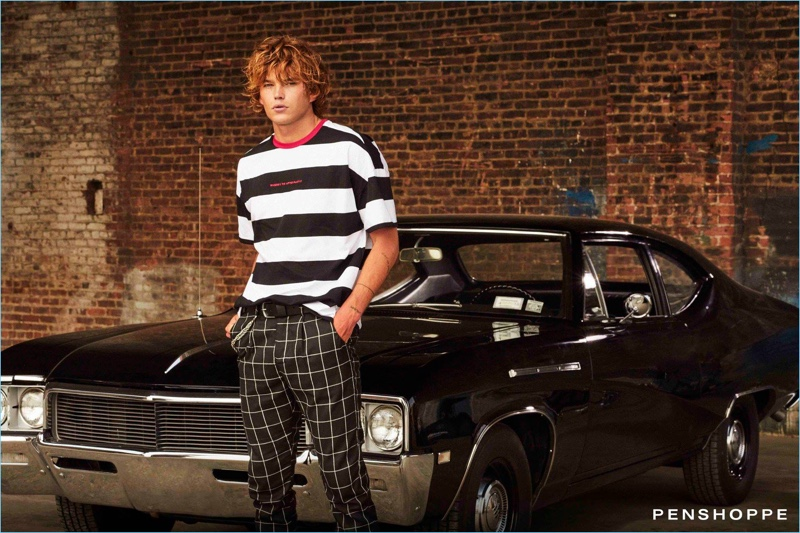 Australian model Jordan Barrett mixes patterns for Penshoppe's pre-holiday 2018 campaign.