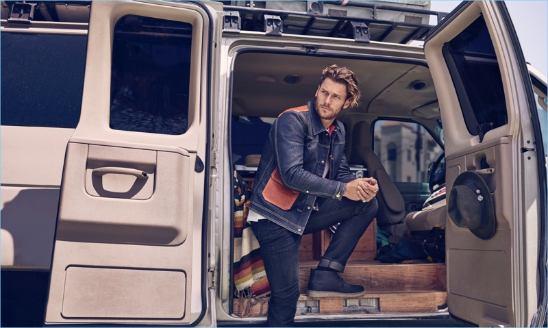 Model Philippe LeBlond appears in 7 For All Mankind's fall-winter 2018 men's campaign.