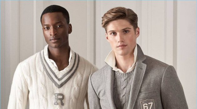 Models Oliver Kumbi and Nick Truelove don grey fashions from Ralph Lauren Purple Label's pre-fall 2018 collection.